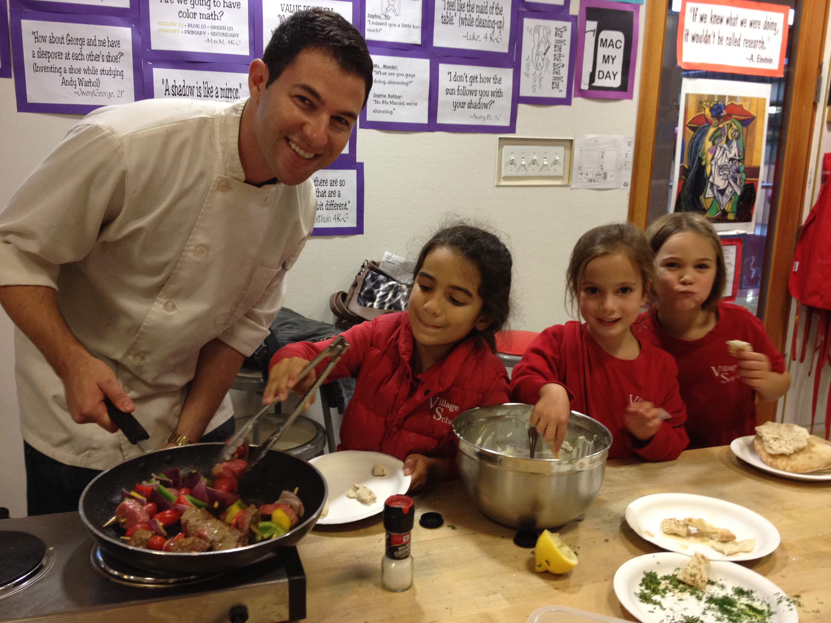 Chef Eric in cooking class with kids